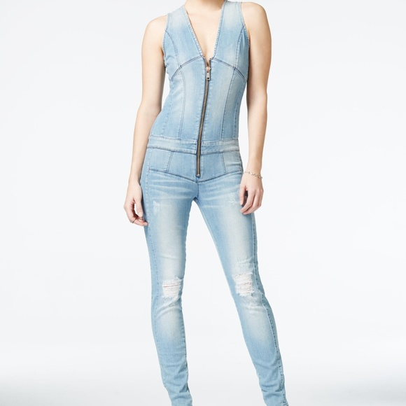 b048ad6270ba Guess Denim - GUESS Ripped Denim Zip-Up Jumpsuit